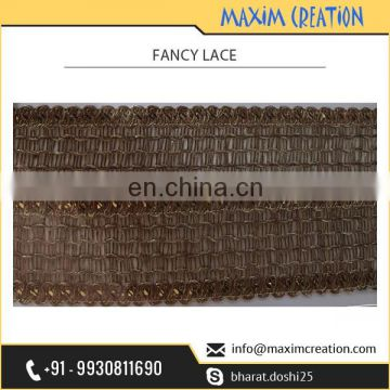 Wholesale Selling of Golden Colour Royal Crochet Fabrics Lace for Sarees at Lowest Rate