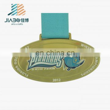 oval shape custom painted bronze swimming medal with ribbon
