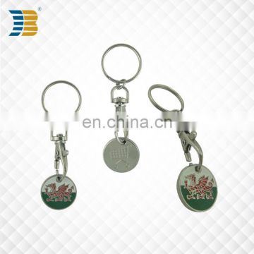 wholesale cheap custom painted metal trolley coin keychain