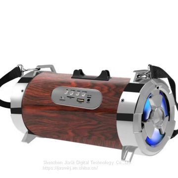 Hot style ch-m23 new gun barrel seven color lights bluetooth speaker with radio plug cartoon words mini audio bass