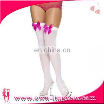 Pink Bow Knot Snow White Cotton School Girl Stocking