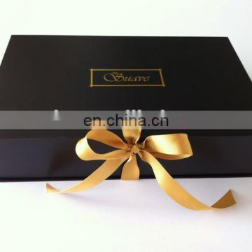 Glossy Black Leather Paper Recycled Paper Gift Folding Box Foil Logo