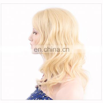 fast shipping and cheap price blonde hair u part synthetic hair wig in stock