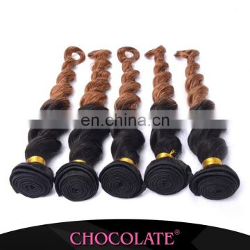 Factory price Chocolate loose wave ombre color 1B/30 hair extension real hair no chemical hair