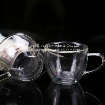 OEM ODM Hot Sale Amazon Gift Double Wall Glass Coffee Cup With Handle