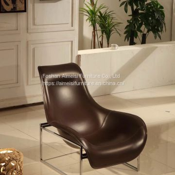 Modern simple creative stainless steel fiberglass lounge chair