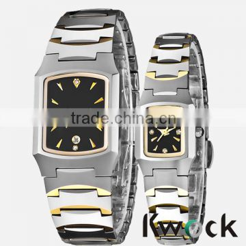 Top fashion design square style couple stainless steel wrist watch