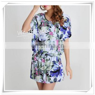 Printed Bamboo Rayon Pajama Shirt Short Sleeves Waist-controlled Crew Neck