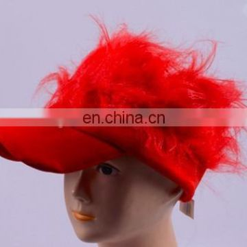 Fancy fashion red visor with red hair Flair Hair Red Visor With Brown Hair Costume Hairdo