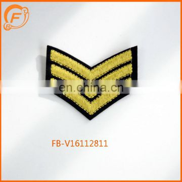 Iron Embroidery Patched Custom Embroidery Gold Badge Fabric