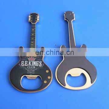 guitar shape logo printed metal bottle opener with magnet