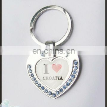 diamante heart shaped metal keychain
