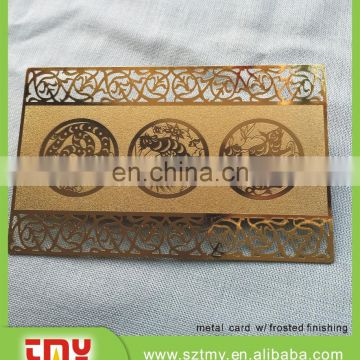Rose gold hollow out lace laser cut metal business cards