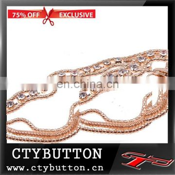 rose color 20 pieces Rhinestones gold belt for graceful ladies