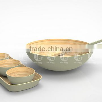... Set Handmade Bamboo Salad Bowls And Spoons, Lacquered Bamboo Products