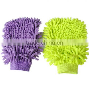 Microfiber colored chenille car wash mitt