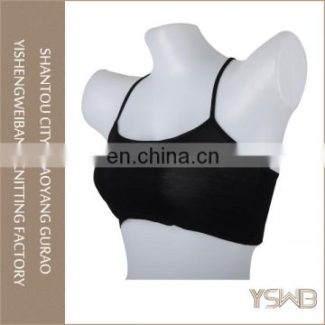 Wholesale spandex elastic anti-bacterial breathable yoga sports seamless tube bra nude