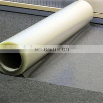Clear/blue/white adhesive carpet protection film label material