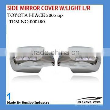 toyota parts hiace chrome body parts 000480 hiace chrome side mirror cover with light led chrome side mirror cover for hiace