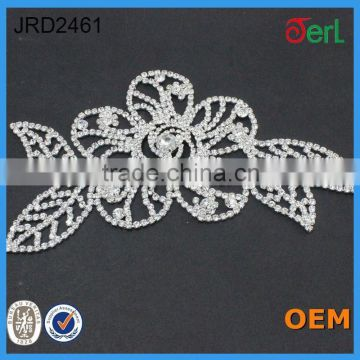 Beauty lace trimming rhinestone crystal bridal applique for collor decoration