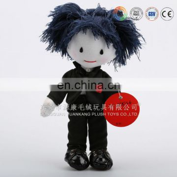 Beautiful plush toy cool doll with black suit and hair