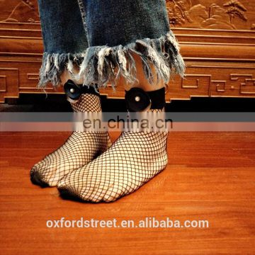 Women Ruffle Fishnet Ankle Socks Mesh Lace Fish Net Short Sock