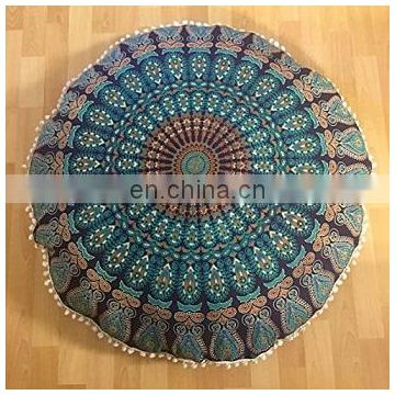 Handmade Mandala Pouf Cover DecorativeCotton Ottoman Vintage Footstool Indian Throw Round Cushion Cover Home Decor Pillow Cover