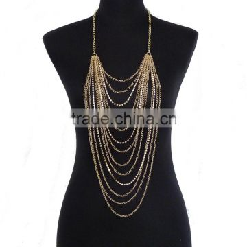 Diamond jewelry multilayer tassel body chain