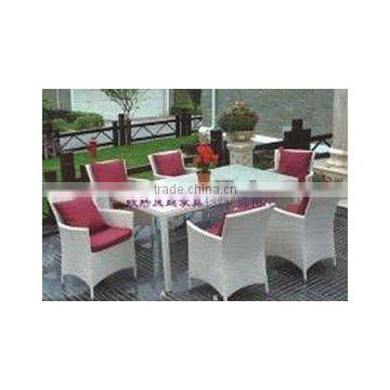 rattan garden dining table setting