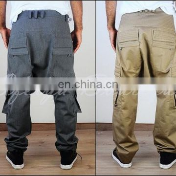 Biker Drop Wool Drop Rise Hiking Mountain Cargo Pants Pintuck on Waist Quilted Harem Pants