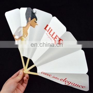 promotion white paper folding fan with wood handle