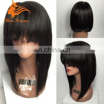 Cheap Straight Human Hair Bob Wigs Brazilian Virgin Hair Bob Short Lace Front Wig For Black Women Short Bob Cut Wig With Bang