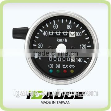 60mm Black Face White LED Mechanical Motorbike Speedometer Gauge with indicator lights