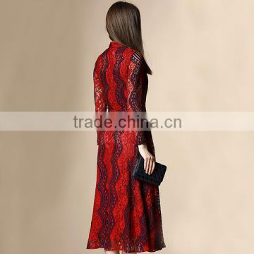 2016 customized elegant stripe lace dress designs with big billowing style