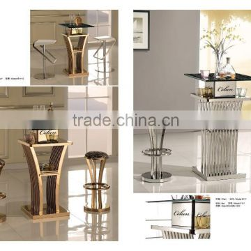 chrome bar table and bar chair