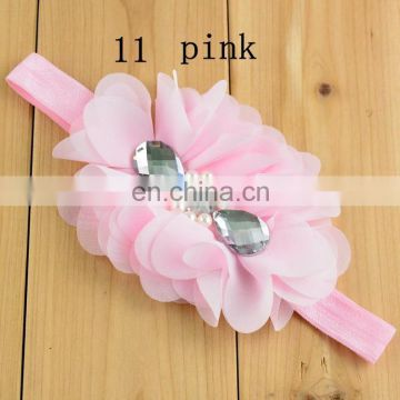 Children's pearl diamond Chiffon headdress flower + hair band neonatal birthday Photography Prop