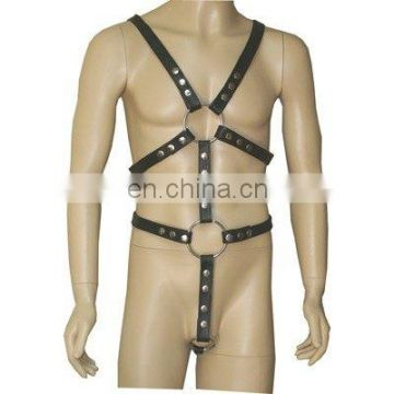 HMB-432A LEATHER FULL HARNESS GOTHIC COSTUME WEAR STRAP