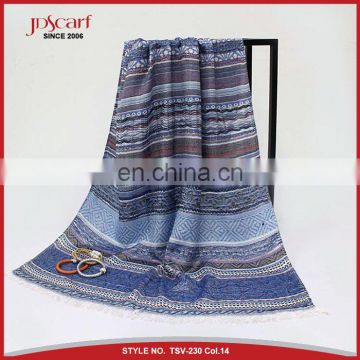 2017 newest jacquard India customs viscose scarf