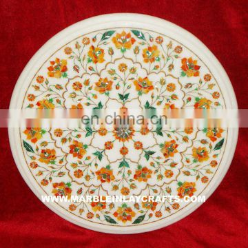 White Marble Stone Inlay Pietra Dura Coffee Table Top