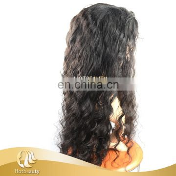 100% Brazilian Virgin Hair Deep Wave Full Lace Wig For Black Women