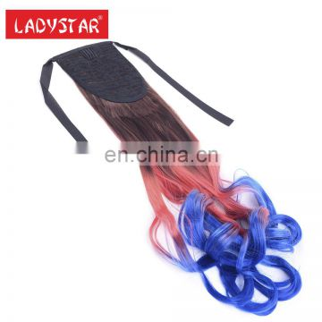 colorful synthetic hair fibre ponytail easily use clip hair extension