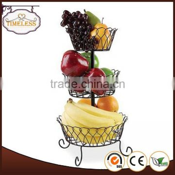 Professional mould design factory directly 3-tier wire fruit basket
