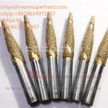Vacuum brazed diamond grinding head, pins and mounted for engraving stone, granite and jad miya@moresuperhard.com