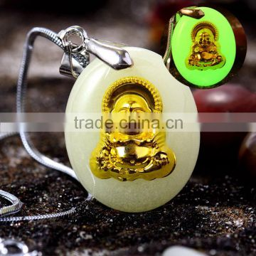 Gold plated Buddha or Guanyin pendant green light luminous stone necklace manafacturer from China