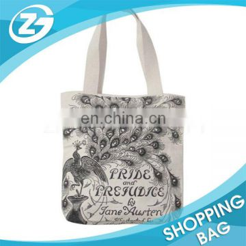 Handled Custom Creative Book Cover Image Full Colors Printing Cotton Canvas Blank Tote Bag