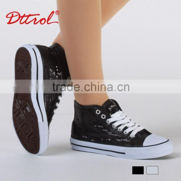 Dttrol Black silver vulcanized shoe sneakers skate shoe hip hop dance shoes D016000