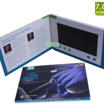 7inch A5 video brochure with packaging box LCD video greeting card invitation card