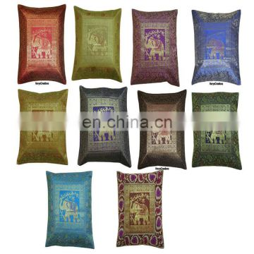 Indian Ethnic Decor Cushion Indian Silk Embroidered Elephant Single Cushion Cover Single Pillow Cover Pillow Case Throw Art