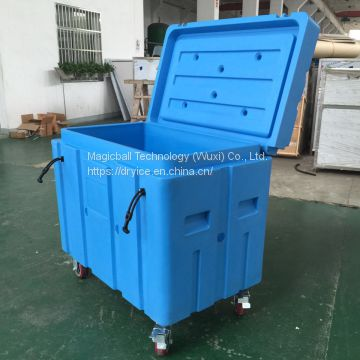 storage dry ice/fish transport container/wheels move container