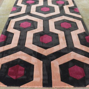 Black Red And Orange Rugs Wool And Nylon Hand Made Living